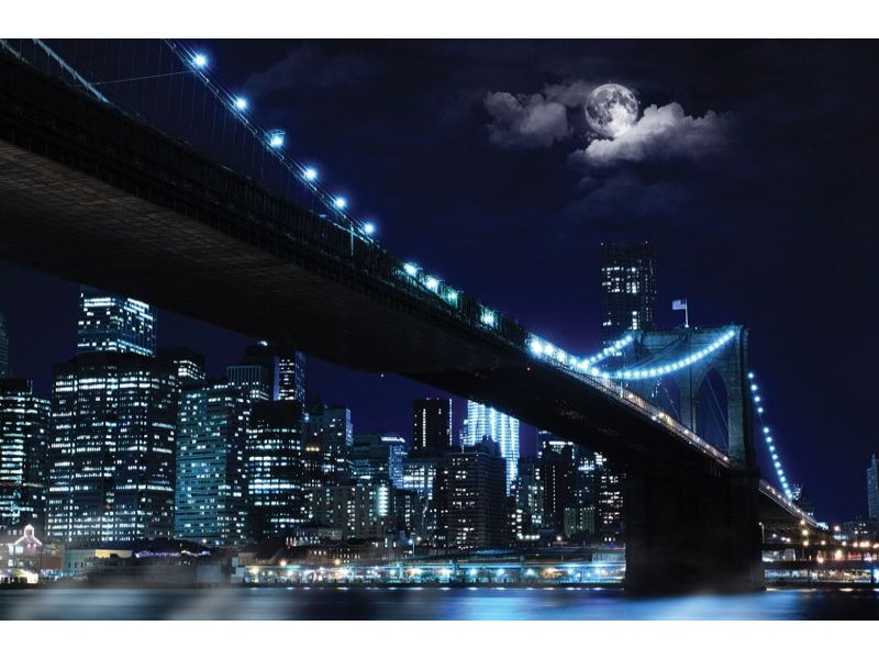 10328V8 - Fototapet staden och bron på natten