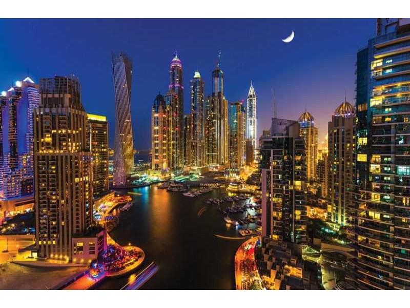 1672V8 - Fototapet Dubai skyskrapor på natten