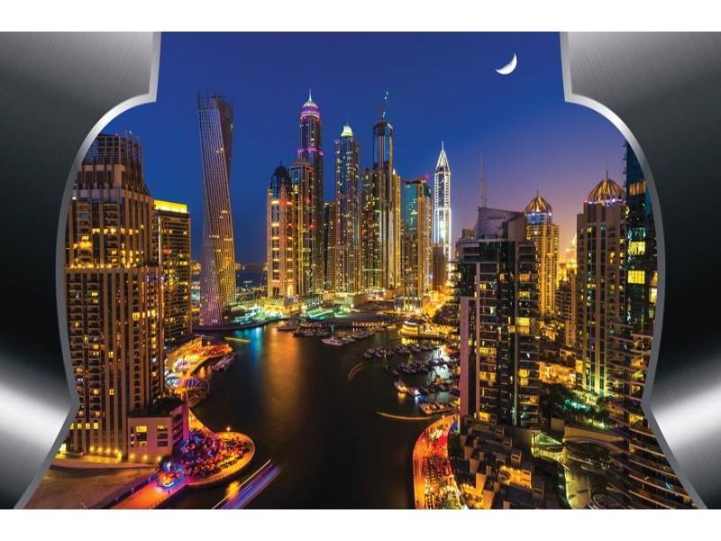 2202V8 - Fototapet Dubai skyskrapor på natten