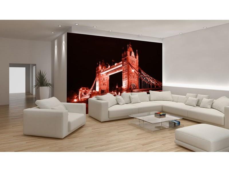 236V8 - Fototapet London Tower Bridge i röd