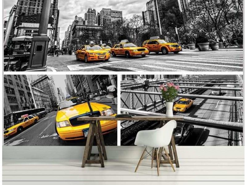 2767V8 - Fototapet Yellow Cabs Collage