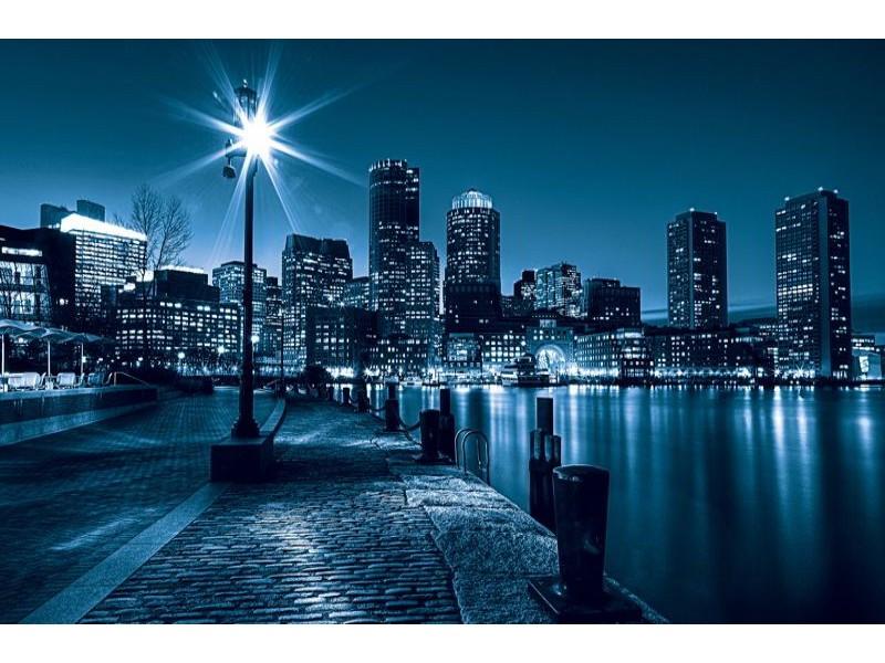 283V8 - Fototapet Stad och skyskrapor på natten