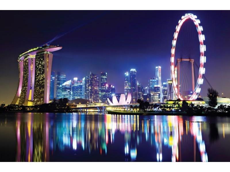 649V8 - Fototapet Singapore på natten