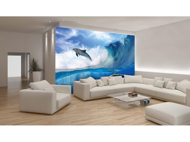 188V8 - Fototapet surfande delfiner