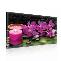Flowers Orchids Candle Stones Pink Canvastavla (PP2464O1)