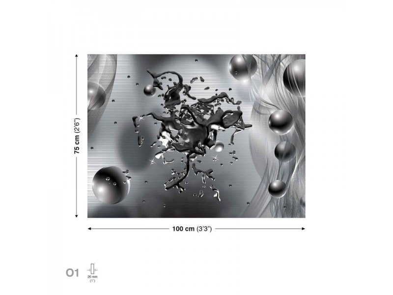 Splash Spheres Grey Canvastavla (PP2414O1)