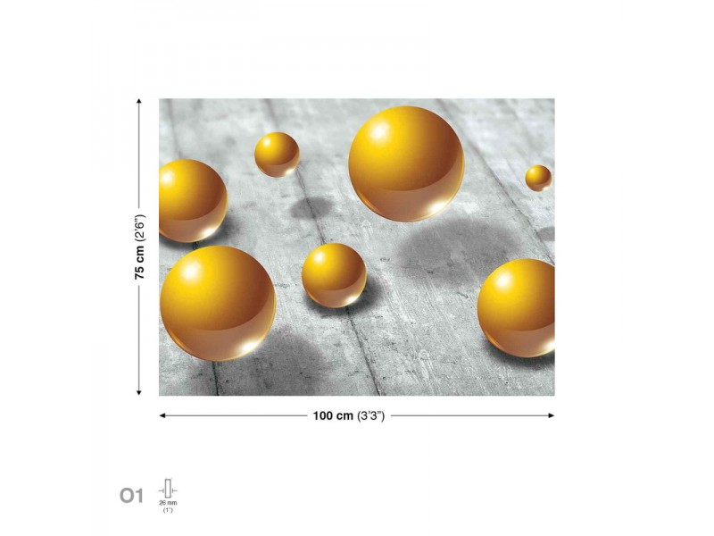 Pattern Spheres Gold Canvastavla (PP2420O1)
