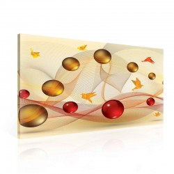 Spheres Birds Gold Red Canvastavla (PP2369O1)