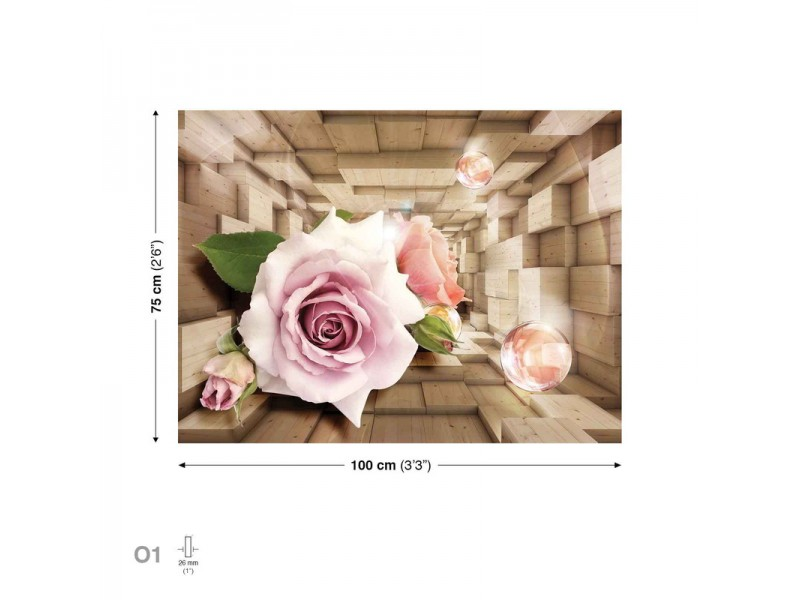 Canvastavla Flowers Bubbles Roses Pink (PP2356O1)