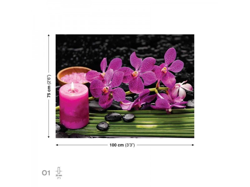 Canvastavla Flowers Orchids Candle Stones Pink (PP2464O1)