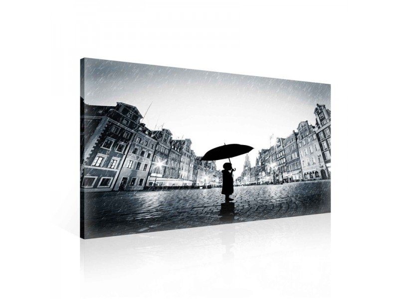 Girl Alone Rain Umbrella Black Canvastavla (PP2483O1)