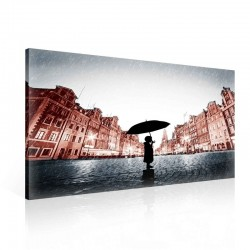 Girl Alone Rain Umbrella Brown Canvastavla (PP2485O1)
