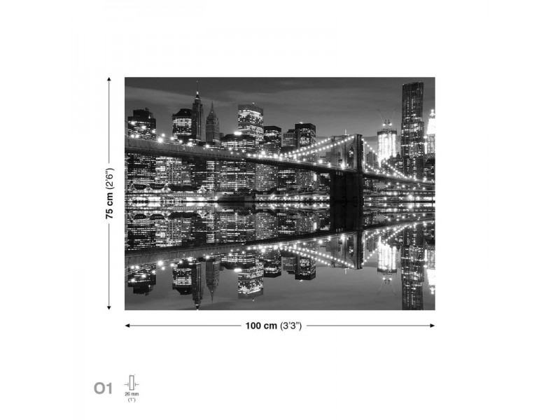 City  Brooklyn Bridge Night Black White Canvastavla (PP1512O1)