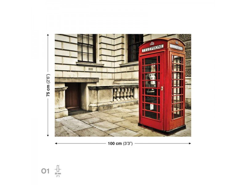 Telephone Box English Vintage Canvastavla (PP1516O1)