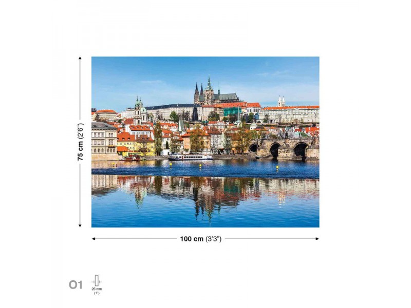 City Prague Bridge River Cathedral  Canvastavla (PP2263O1)