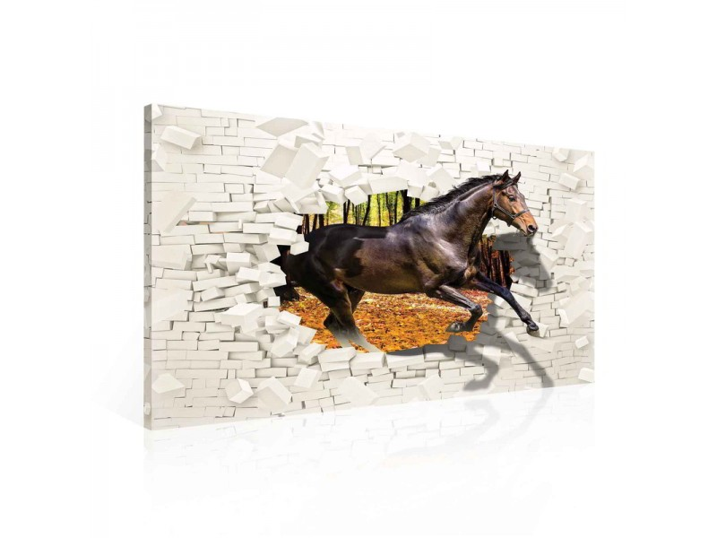 Horse Forest Brick Wall Hole Brown Canvastavla (PP2309O1)