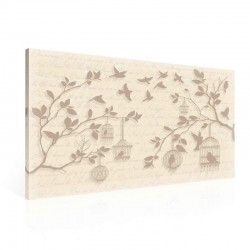 Pattern Letter Birds Trees Canvastavla (PP2372O1)