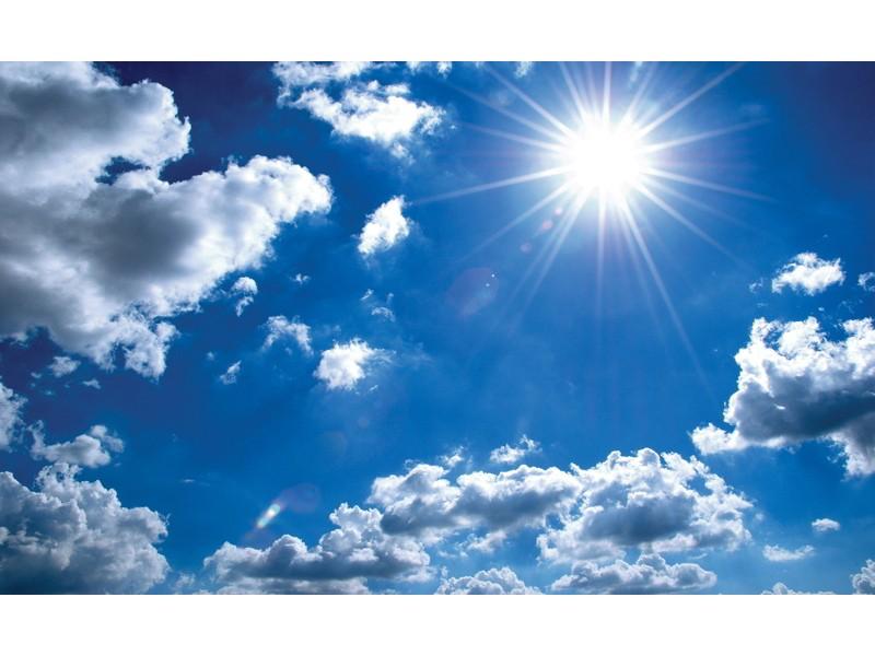 1991V8 - Fototapet solen på blå himmel