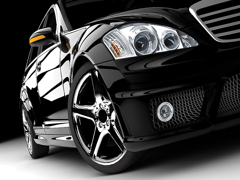 416V8 - Fototapet svart sportbil