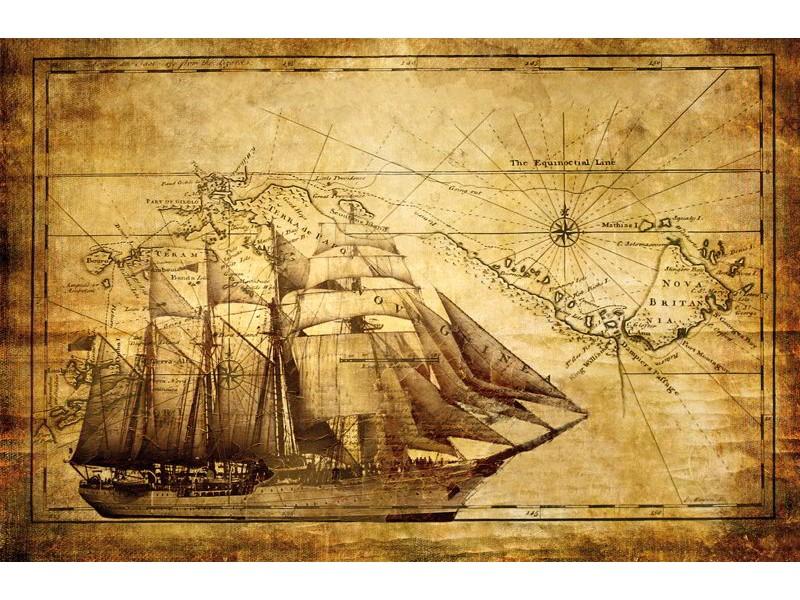 022V8 - Fototapet båt och sjö karta
