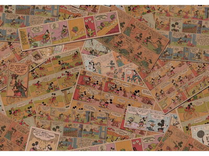 2888WM - Fototapet DISNEY MICKEY MOUSE NEWSPRINT VINTAGE