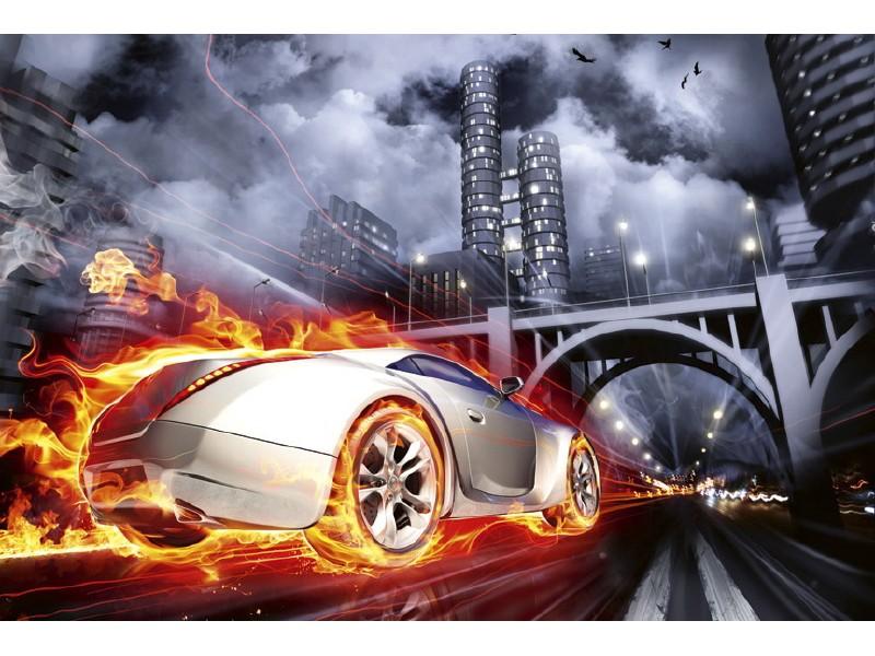 FOTOTAPET EASY UP CAR IN FLAMES