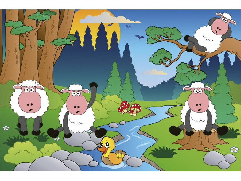 FOTOTAPET EASY UP SHEEP IN FOREST