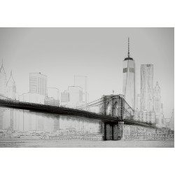 FOTOTAPET NEW YORK ART ILLUSTRATION SVART OCH VITT