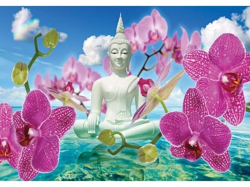 FOTOTAPET BUDDHA-STATYN OCH ORKIDÉER