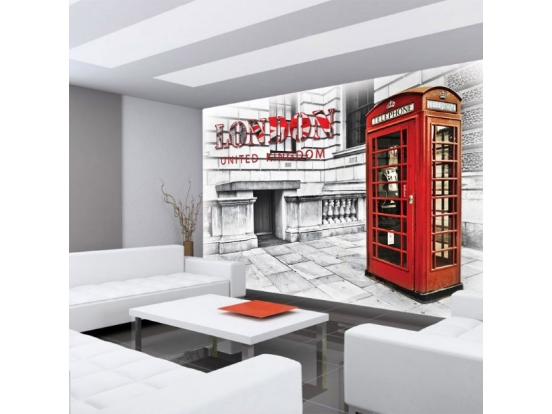 FOTOTAPET RÖD TELEFONKIOSK LONDON