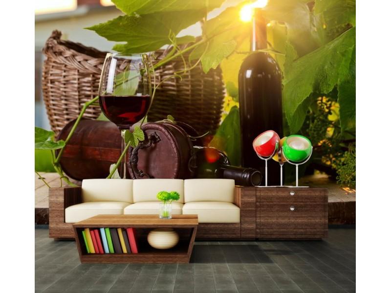 M0831 - Fototapet flaska rött vin och glas