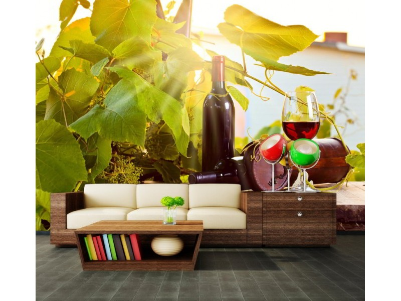 M0833 - Fototapet vingård och vin
