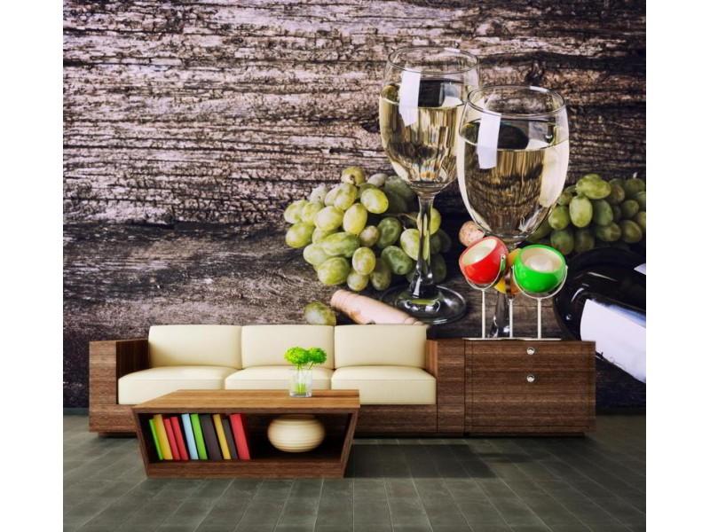 M0837 - Fototapet gammal träbakgrund med glas vitt vin