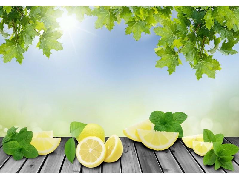M0701 - Fototapet citronskivor på grön bakgrund