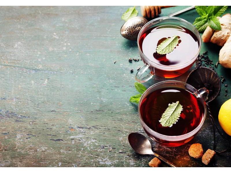 M0834 - Fototapet te med mint, ingefära och citron