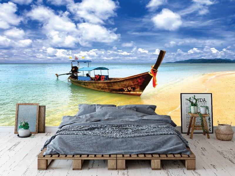 Fototapet thailändsk fiskebåt i Phuket