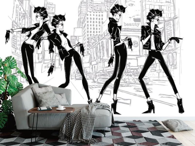 Fototapet fyra modekvinnor i New York