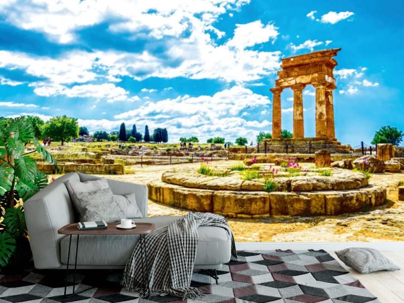Fototapet vy över ruinerna av templet Castore och Polluce nära Agrigento (Sicilien, Italien)
