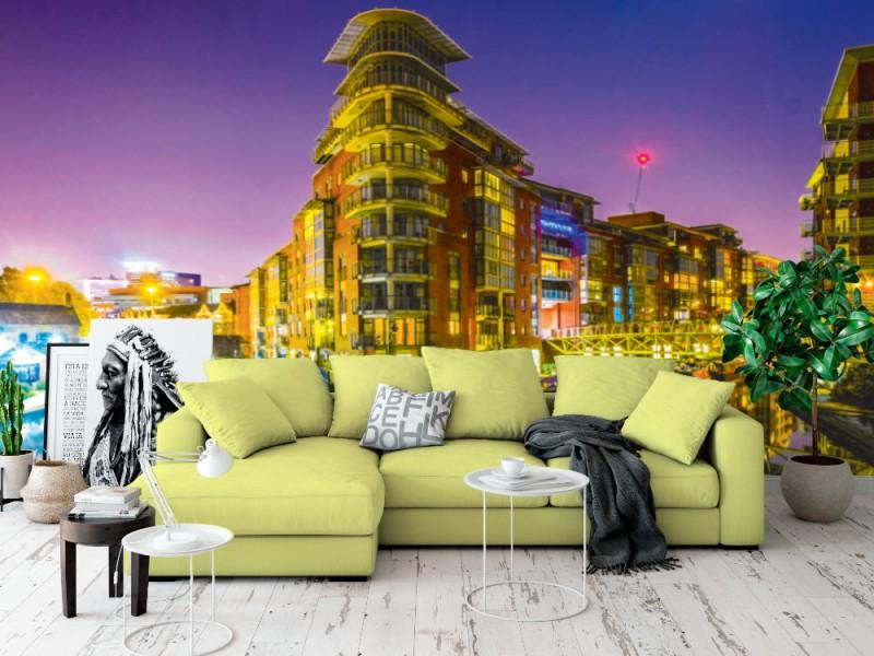 Fototapet natt vy av tegelbyggnader i Birmingham (England)