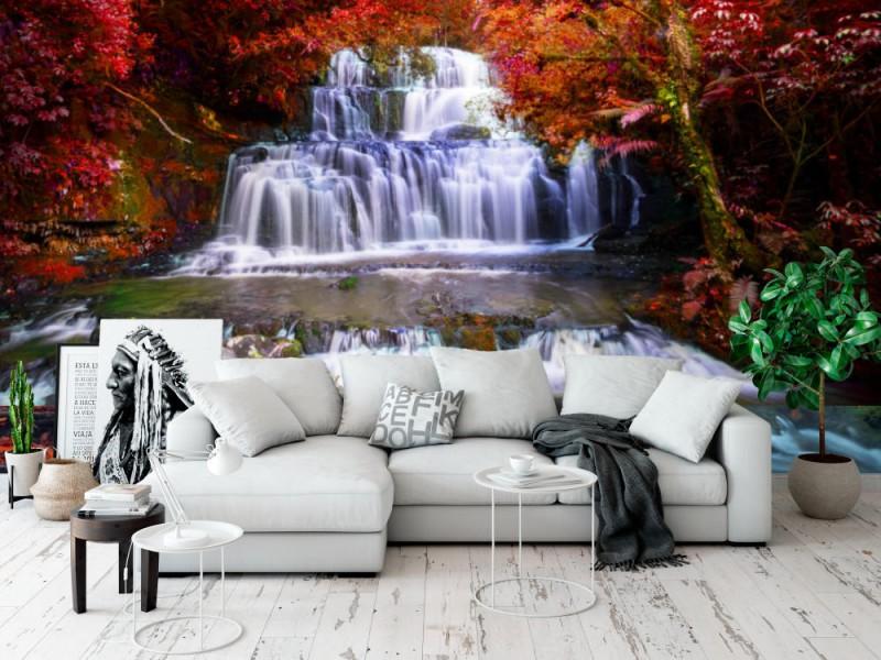 Fototapet Beautiful Waterfall In The Rainforest
