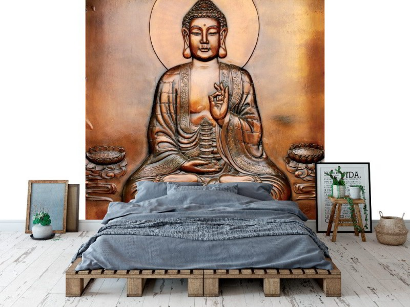 Fototapet den heliga Buddha som pryder trädgårdslandskapet (104737365)
