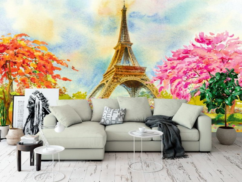 Fototapet Eiffeltornets akvarellmålning (105275774)