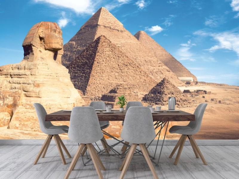 Fototapet Giza-pyramider med sfinx (Egypten)