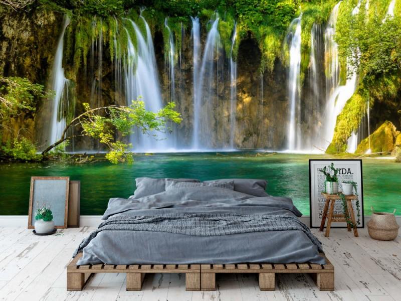 Fototapet Beautiful Waterfall In Plitvice