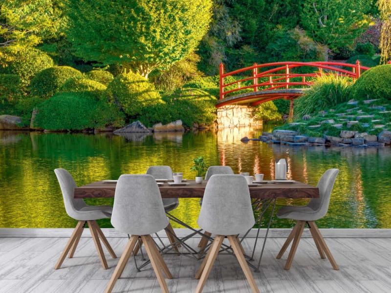 Fototapet bro i den japanska trädgården (11019387)