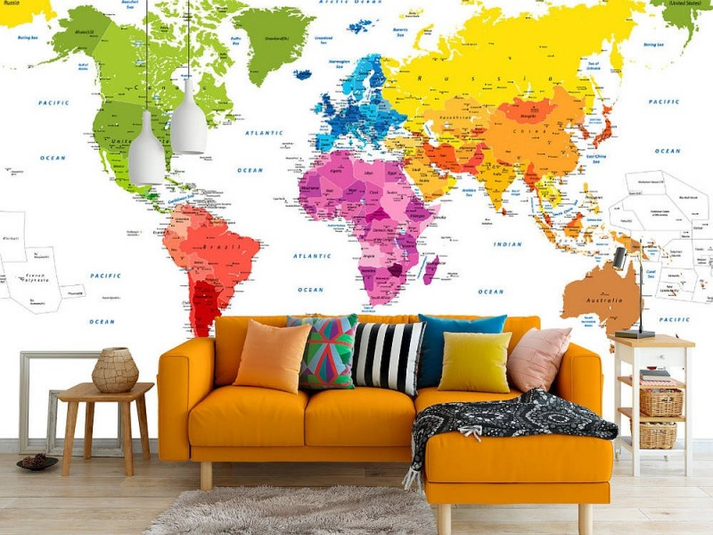 Fototapet Detailed World Map