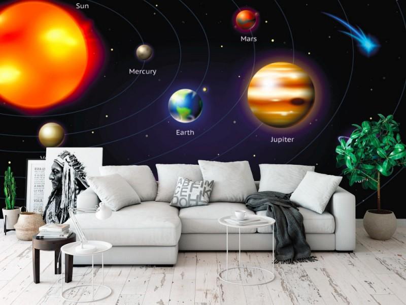 Fototapet planeter av solsystemet