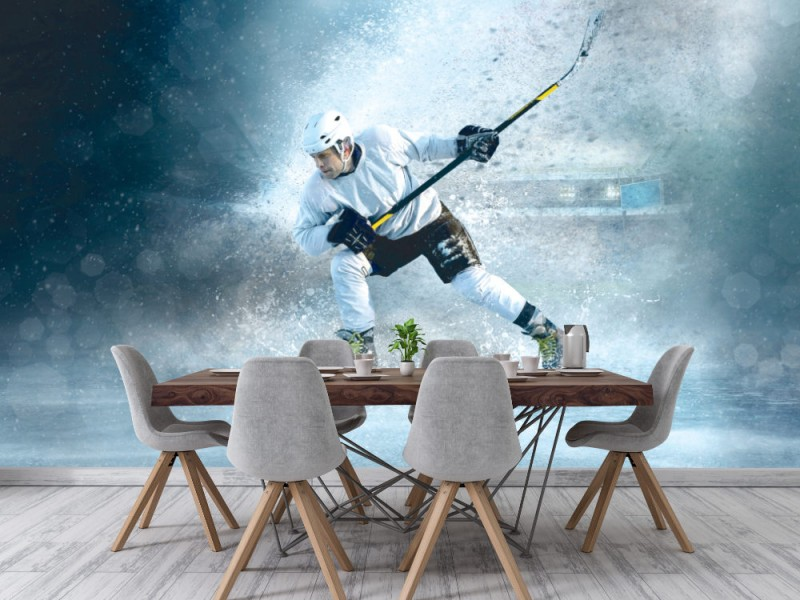 Fototapet Ishockeyspelare i dynamisk handling (115657188)