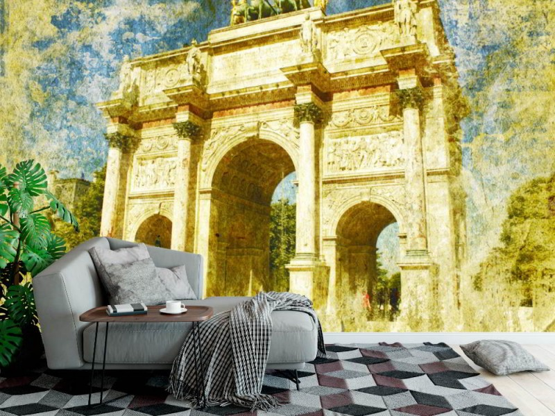 Fototapet Paris Triumfbågen i retrostil (11666872)