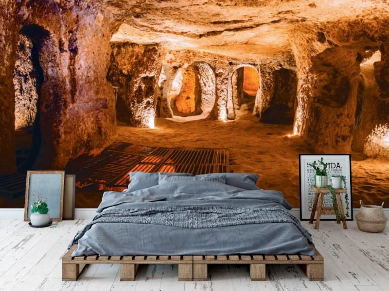 Fototapet underjordisk grottstad i Kappadokien